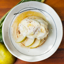 Ginger Honey Poached Pears and Custard Dessert