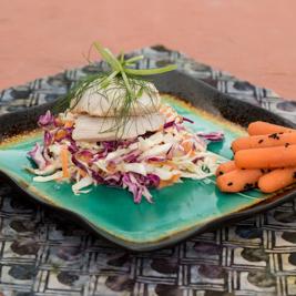 Marinated Mahi Mahi with Hawaiian Coleslaw              & Gingered Sesame Carrots